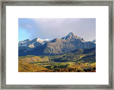 Evening Light On The Sneffels Range Framed Print by Alex Cassels