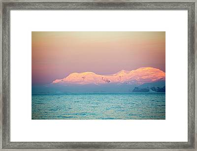Evening Light Over Mountains Framed Print