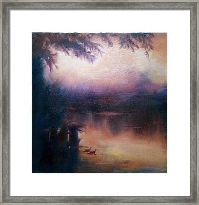 Framed Print featuring the painting Evening Light by Rosemarie Hakim