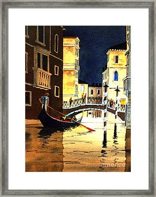 Framed Print featuring the painting Evening Lights - Venice by Bill Holkham