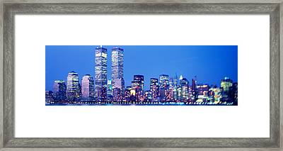 Evening, Lower Manhattan, Nyc, New York Framed Print by Panoramic Images