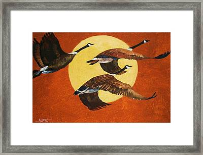 Framed Print featuring the painting Evening Migration by Al Brown