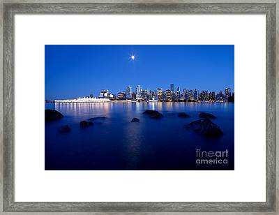 Evening Moon Over Vancouver Harbour 1 Framed Print by Terry Elniski