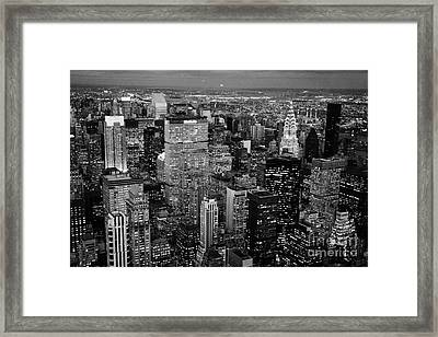 Evening Night View Of North East Manhattan Cityscape Night New York City Illuminated Framed Print by Joe Fox
