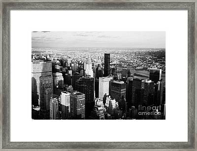Evening Night View Of North East Manhattan New York City Skyline Cityscape Framed Print by Joe Fox