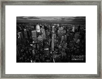 Evening Night View Of North East Manhattan  New York City Skyline Night Framed Print by Joe Fox