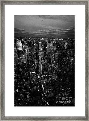 Evening Night View Of North East Manhattan Night Views New York City Skyline Framed Print by Joe Fox