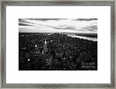 Evening Night View Of South Manhattan And Sunset New York City Framed Print by Joe Fox