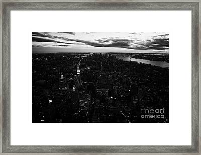 Evening Night View Of South Manhattan And Sunset Night Falling New York City Framed Print by Joe Fox