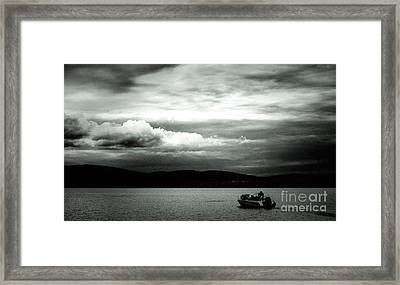 Framed Print featuring the pyrography Evening On The Lake by Evgeniy Lankin