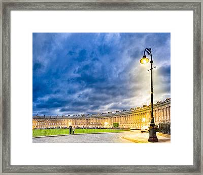 Evening On The Royal Crescent In Bath Framed Print by Mark E Tisdale