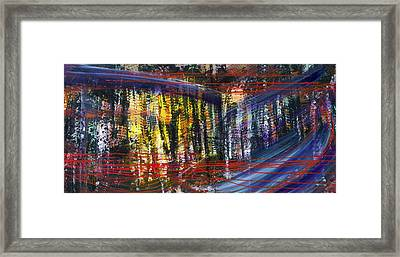 Evening Pond By A Road Framed Print