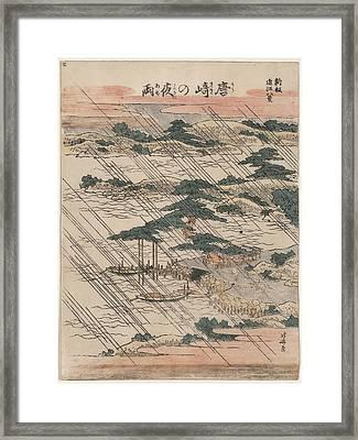 Evening Rain At Karasaki Framed Print by Georgia Fowler