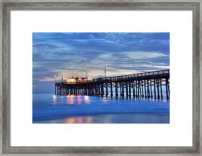 Evening Reflections Newport Beach Pier Framed Print
