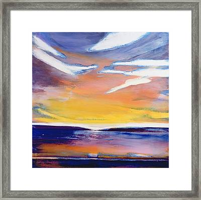 Evening Seascape Framed Print by Lou Gibbs