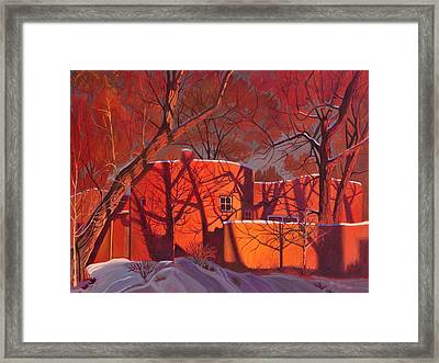 Evening Shadows On A Round Taos House Framed Print by Art James West