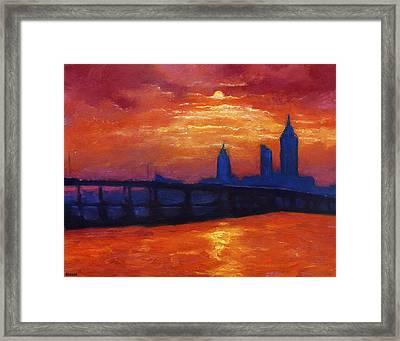 Evening Skyline Mobile Framed Print by Vernon Reinike
