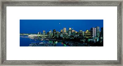 Evening Skyline Vancouver British Framed Print by Panoramic Images