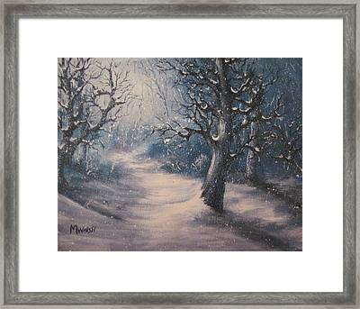 Framed Print featuring the painting Evening Snow by Megan Walsh