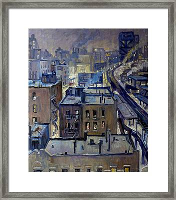 Evening Snow On Broadway Nyc Framed Print