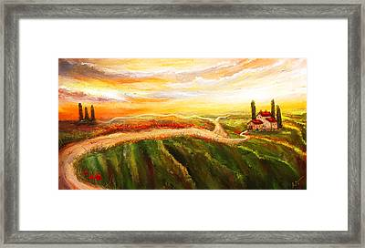 Evening Sun - Glowing Tuscan Field Paintings Framed Print by Lourry Legarde
