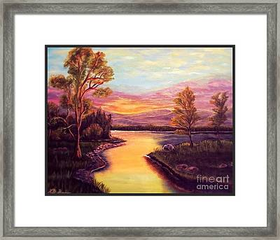 Evening Sun Sets Over A Lake Somewhere Off The Gulf Of Mexico Framed Print