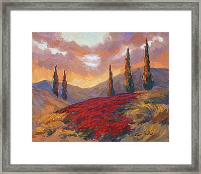 Evening Sunset In Tuscany Framed Print