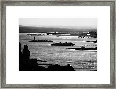Evening Sunset View Of Liberty And Ellis Island Islands New York City Bay Usa Framed Print