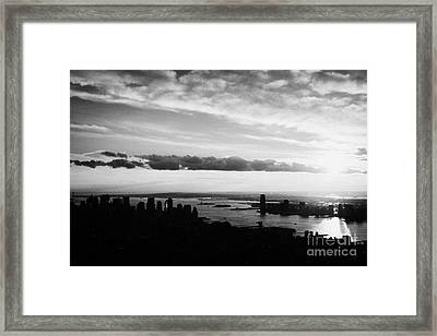 Evening Sunset View Of Lower Manhattan And Hudson River New York City Framed Print by Joe Fox