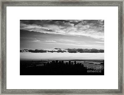 Evening Sunset View Of Lower Manhattan New York City Framed Print