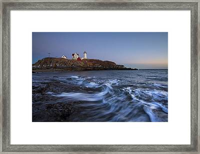 Evening Surf At Nubble Framed Print by Eric Gendron