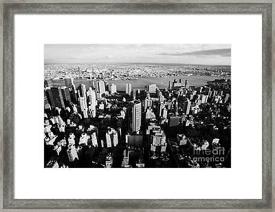 Evening View Of Manhattan East Towards East River And Queens New York City Cityscape Usa Framed Print