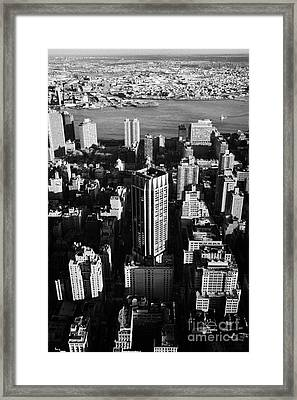 Evening View Of Manhattan East Towards East River And Queens New York City Usa Framed Print