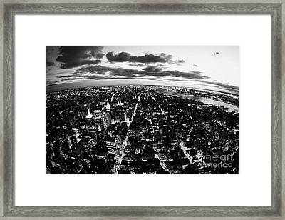 Evening View Of South Manhattan And Sunset Lower New York City Framed Print by Joe Fox