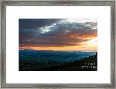 Evening View Of The Tuscan Countryside Framed Print by Peter Noyce
