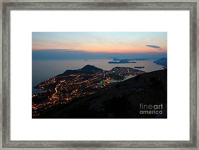 Evening View Toward Dubrovnik And The Dalmatian Coast Framed Print by Kiril Stanchev