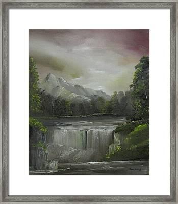 Evening Waterfalls Framed Print