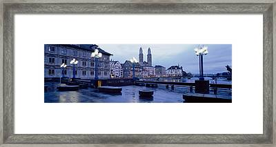 Evening, Zurich, Switzerland Framed Print