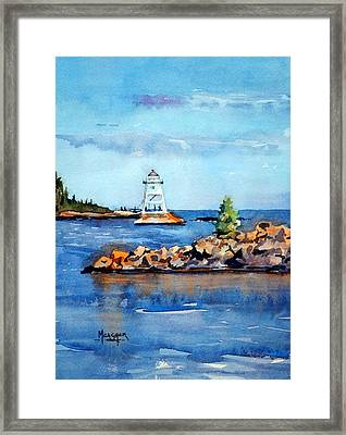 Evenings Glow At The Harbor Framed Print by Spencer Meagher