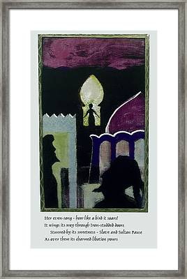 Evensong With Poem Framed Print by Walter Clark