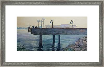 Framed Print featuring the painting Eventide At The Oceanside Harbor Fishing Pier by Jan Cipolla