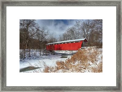 Everett Rd. Covered Bridge Framed Print by Daniel Behm