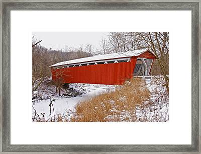 Everett Rd. Covered Bridge In Winter Framed Print