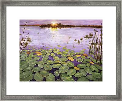 Framed Print featuring the painting Everglades Evening by Karen Zuk Rosenblatt