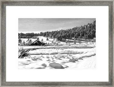 Evergreen Lake House In Winter Framed Print