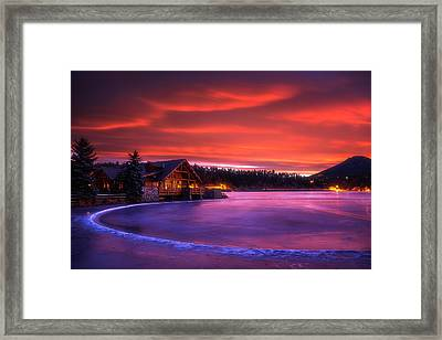 Evergreen Lake Sunrise Framed Print