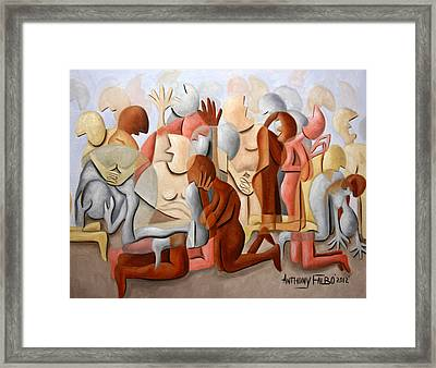 Every Knee Shall Bend Every Mouth Shall Confess Jesus Is Lord Framed Print by Anthony Falbo