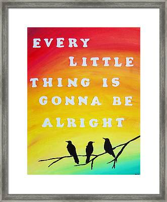 Every Little Thing Is Gonna Be Alright Song Lyric Art Framed Print by Michelle Eshleman