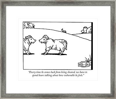 Every Time He Comes Back From Being Sheared Framed Print by Bruce Eric Kaplan