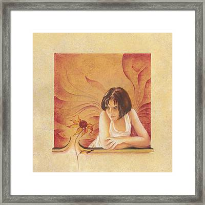 Everyday Angel With Flower Framed Print